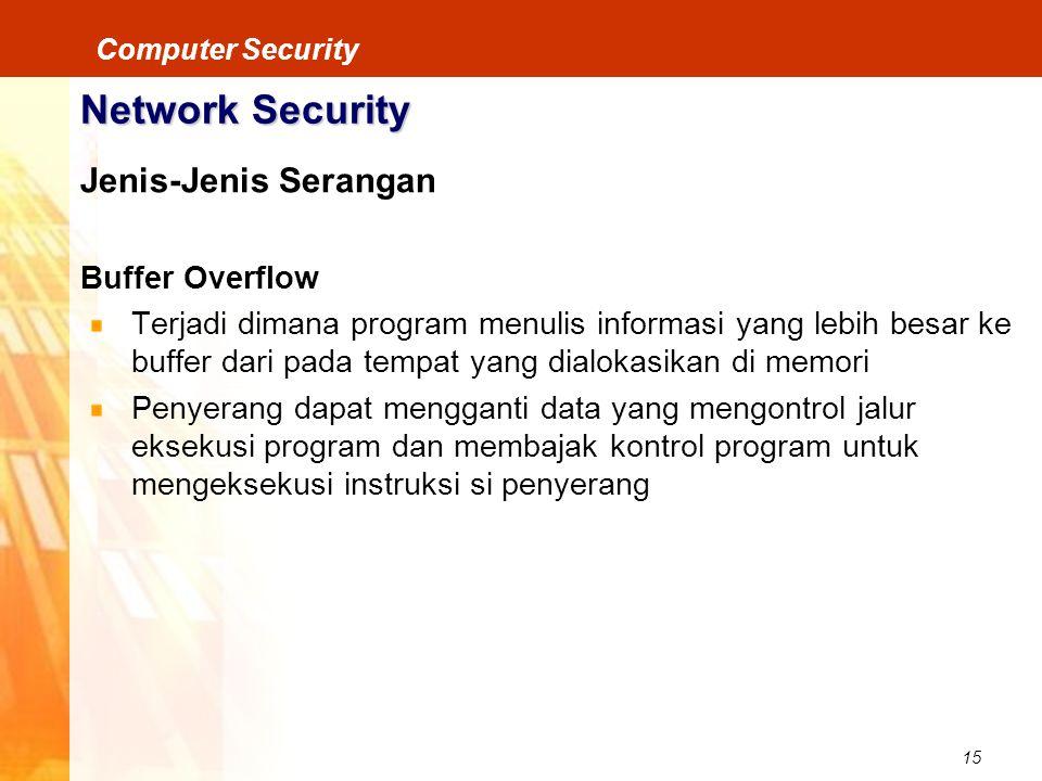 15 Computer Security Network Security Jenis-Jenis Serangan Buffer Overflow Terjadi dimana program menulis informasi yang lebih besar ke buffer dari pa