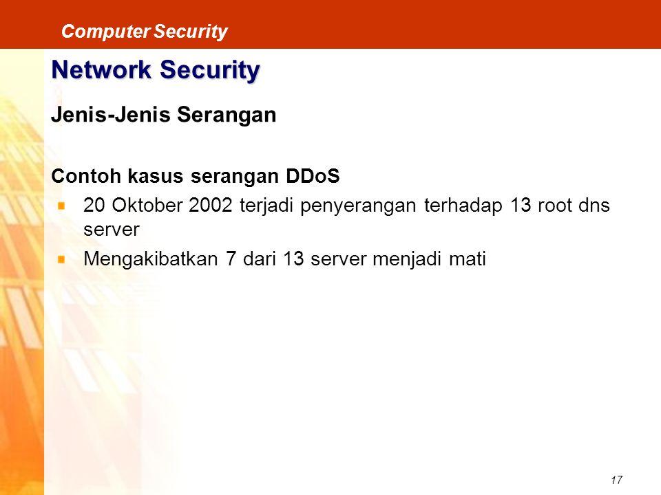 17 Computer Security Network Security Jenis-Jenis Serangan Contoh kasus serangan DDoS 20 Oktober 2002 terjadi penyerangan terhadap 13 root dns server
