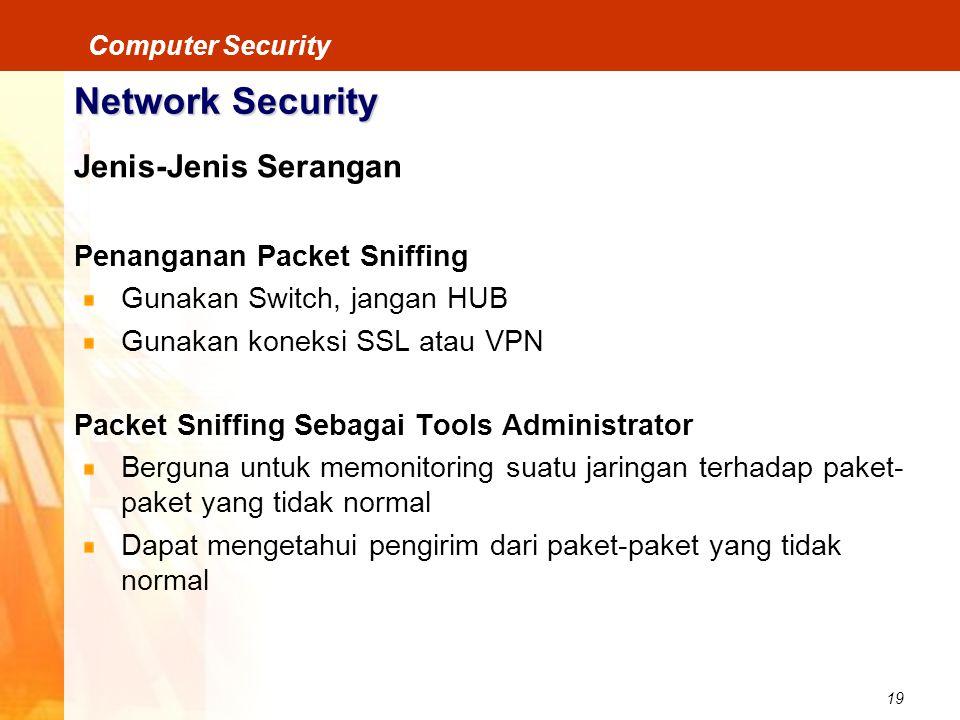 19 Computer Security Network Security Jenis-Jenis Serangan Penanganan Packet Sniffing Gunakan Switch, jangan HUB Gunakan koneksi SSL atau VPN Packet S