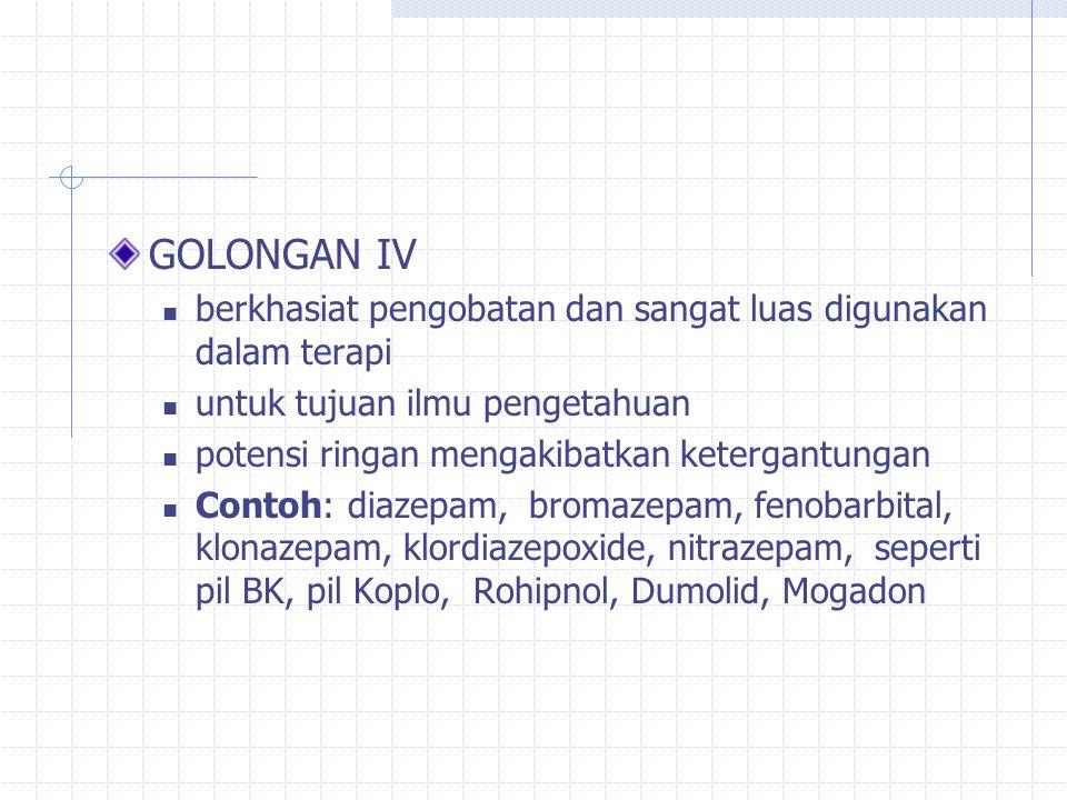 GOLONGAN III : berkhasiat pengobatan dan banyak digunakan dalam terapi tujuan ilmu pengetahuan potensi sedang mengakibatkan ketergantungan Contoh: fenobarbital, flunitrazepam