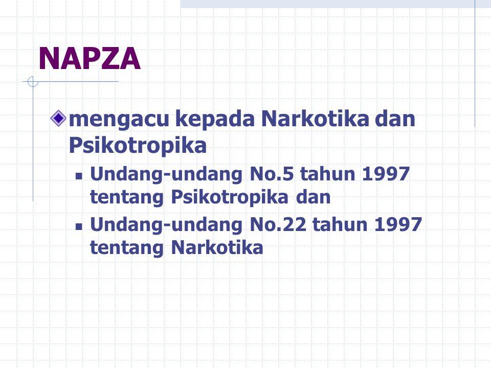 NAPZA (Narkotika, Psikotropika dan zat adiktif lainnya) bahan/zat yang bila masuk ke dalam tubuh akan mempengaruhi tubuh terutama susunan saraf pusat/otak, sehingga menyebabkan gangguan fisik, psikis dan fungsi sosial.