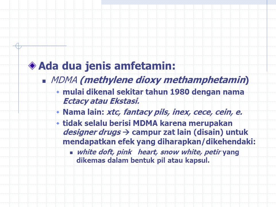 AMFETAMIN Nama generik: D-pseudo epinefrin yang disintesa tahun 1887, dan dipasarkan tahun 1932 sebagai dekongestan Nama jalanan: speed, meth, crystal, uppers, whizz dan sulphate Bentuk: bubuk warna putih dan keabu-abuan