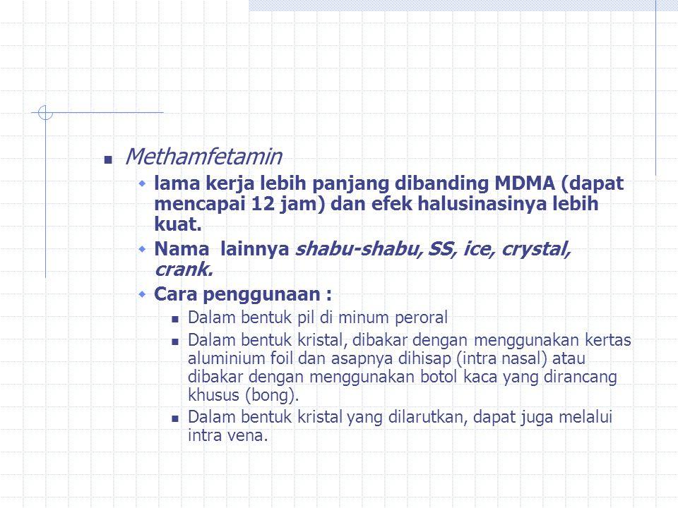 Ada dua jenis amfetamin: MDMA (methylene dioxy methamphetamin)  mulai dikenal sekitar tahun 1980 dengan nama Ectacy atau Ekstasi.
