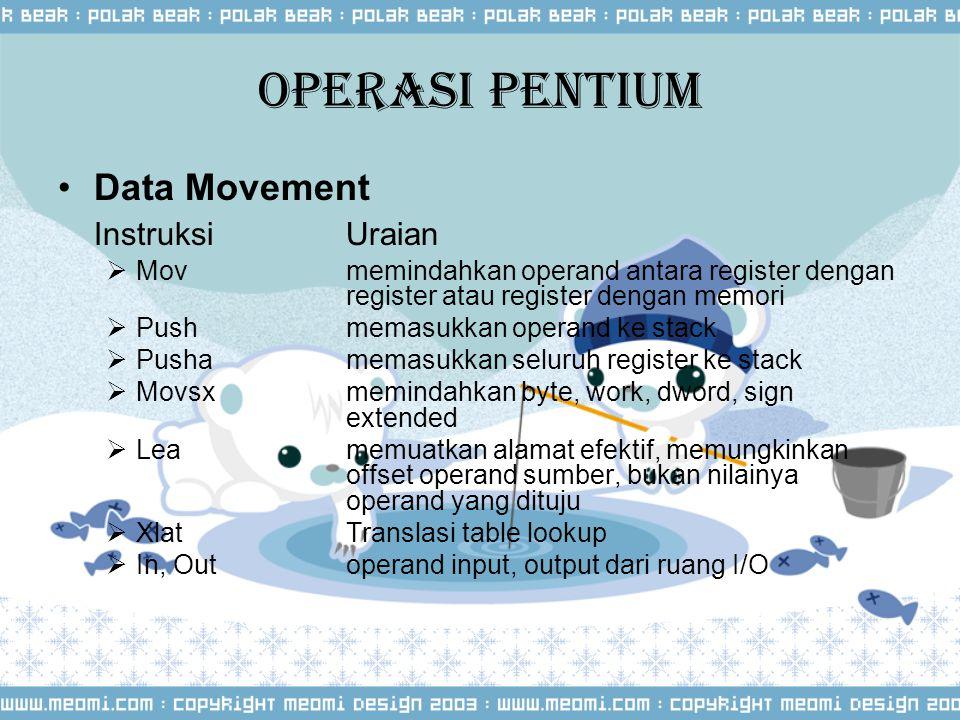 Operasi Pentium Data Movement Instruksi Uraian  Movmemindahkan operand antara register dengan register atau register dengan memori  Pushmemasukkan o