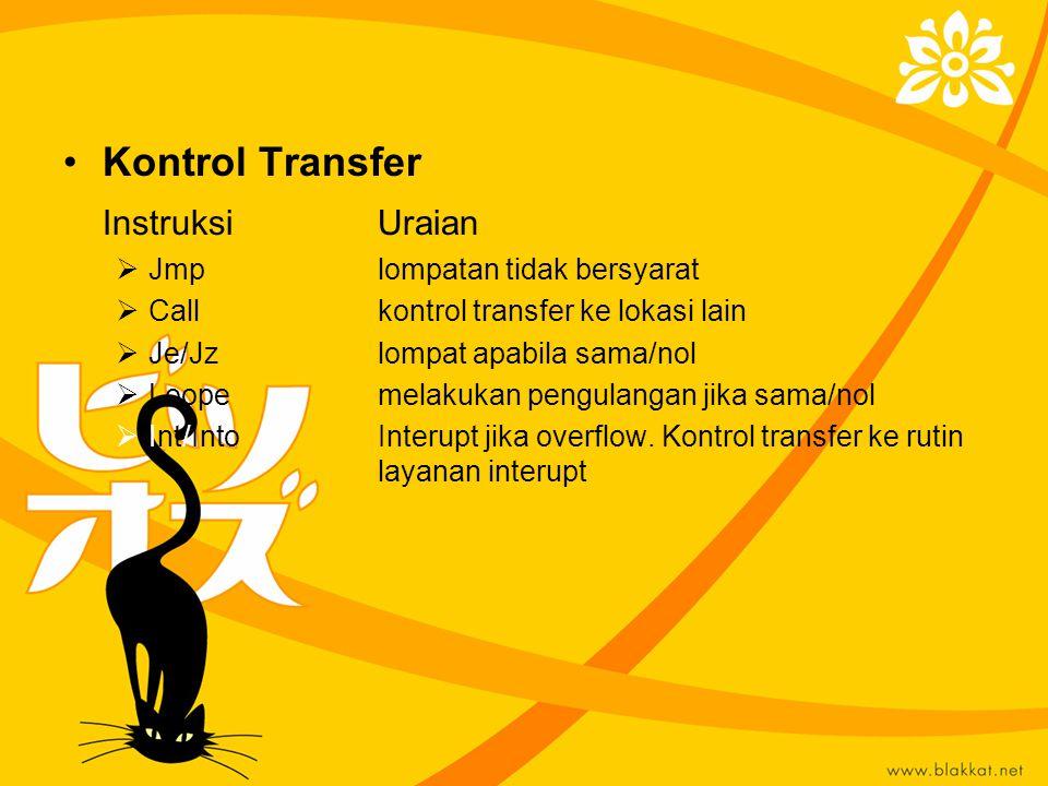 Kontrol Transfer InstruksiUraian  Jmplompatan tidak bersyarat  Callkontrol transfer ke lokasi lain  Je/Jzlompat apabila sama/nol  Loopemelakukan p