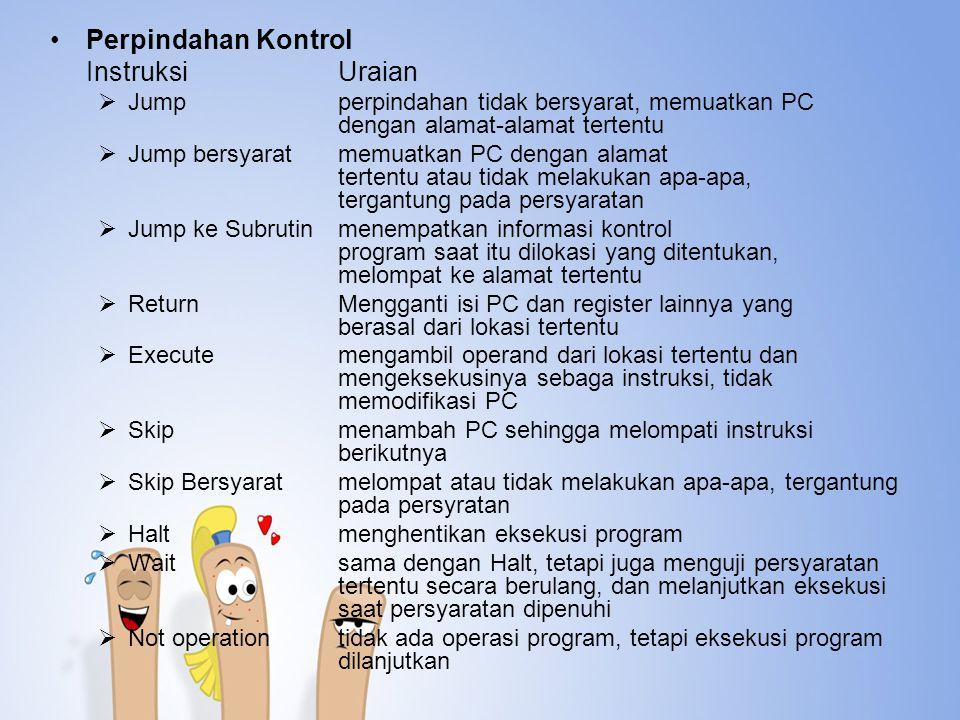 Perpindahan Kontrol InstruksiUraian  Jumpperpindahan tidak bersyarat, memuatkan PC dengan alamat-alamat tertentu  Jump bersyaratmemuatkan PC dengan