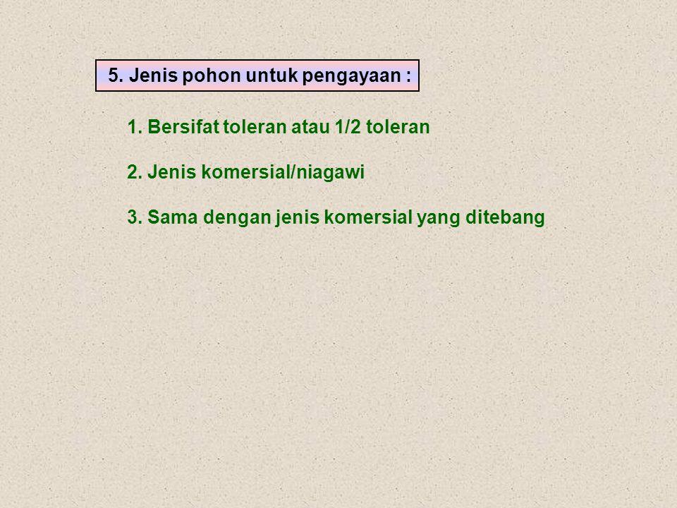 1. Bersifat toleran atau 1/2 toleran 2. Jenis komersial/niagawi 3. Sama dengan jenis komersial yang ditebang 5. Jenis pohon untuk pengayaan :