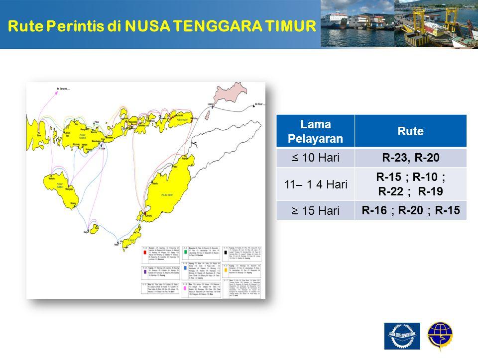 Page  54 Usulan Perubahan Rute NUSA TANGGARA TIMUR R -16 Rute R-16, ( 19 hari ) dipecah menjadi dua rute, Masing-masing : Bima –154- Jampe -70- Selayar -119- Makassar - 119- Selayar -70-Jampea - 154- Bima.