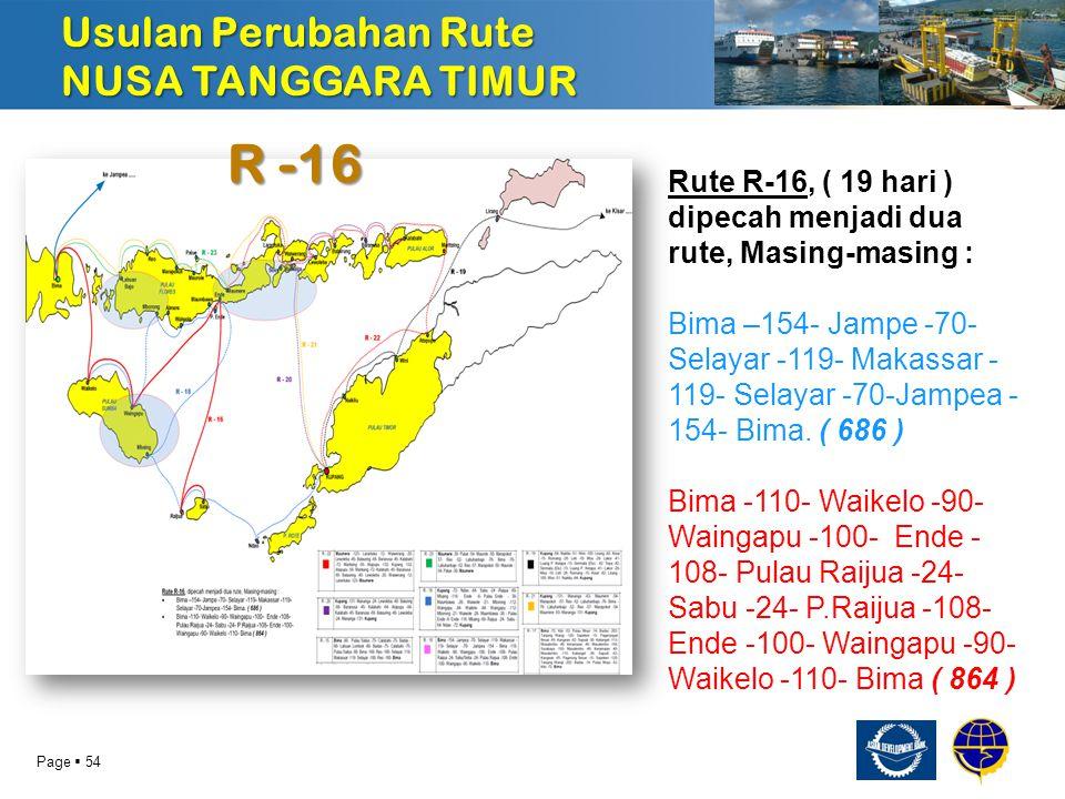 Page  55 R -19 Usulan Perubahan Rute NUSA TANGGARA TIMUR Diperpendek untuk mempersingkat waktu berlayar dari 14 hari menjadi 10 hari.