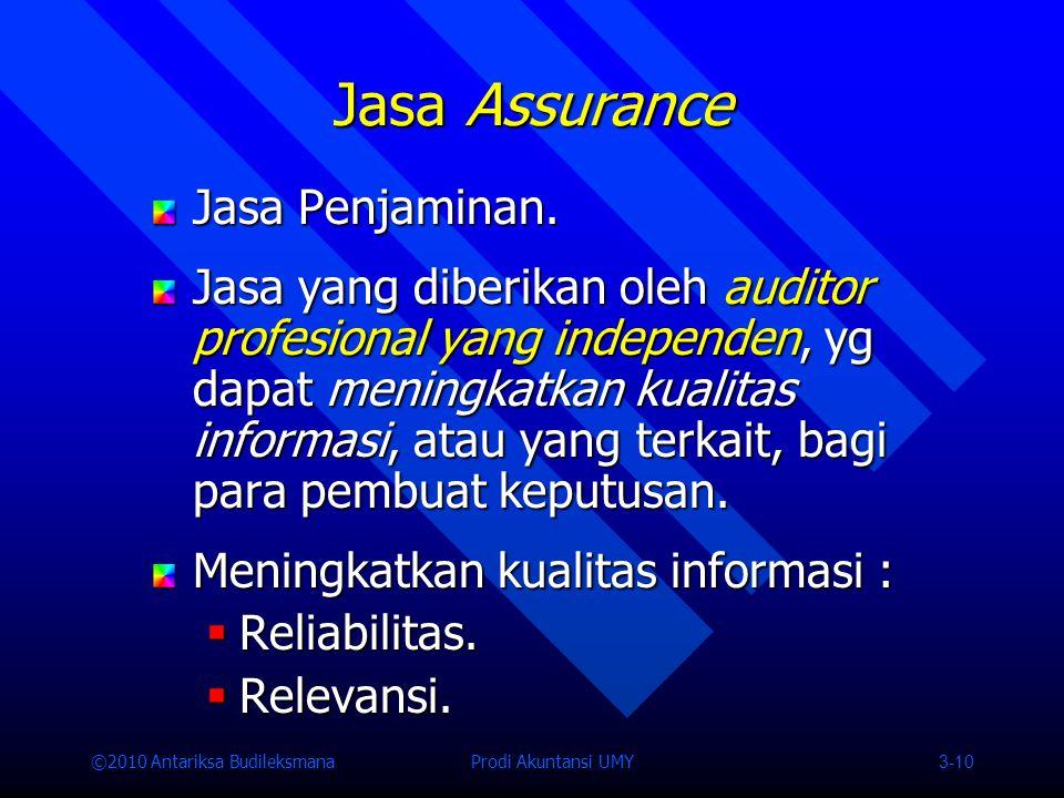 ©2010 Antariksa Budileksmana Prodi Akuntansi UMY 3-10 Jasa Assurance Jasa Penjaminan.