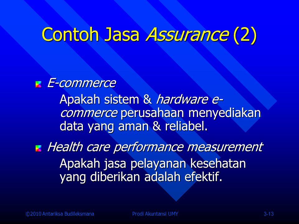 ©2010 Antariksa Budileksmana Prodi Akuntansi UMY 3-13 Contoh Jasa Assurance (2) E-commerce Apakah sistem & hardware e- commerce perusahaan menyediakan data yang aman & reliabel.
