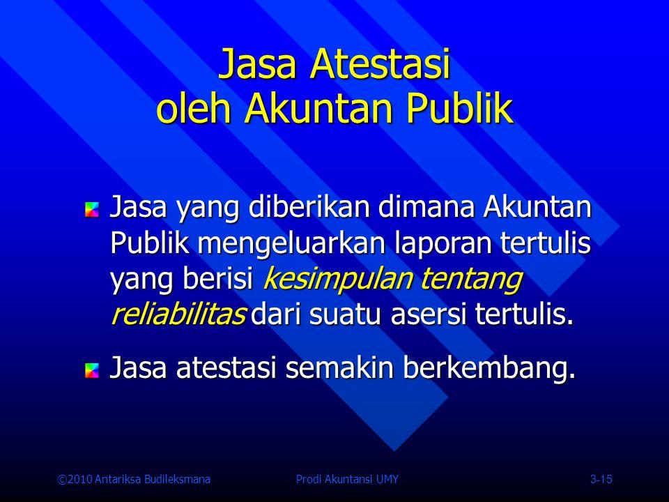 ©2010 Antariksa Budileksmana Prodi Akuntansi UMY 3-15 Jasa yang diberikan dimana Akuntan Publik mengeluarkan laporan tertulis yang berisi kesimpulan tentang reliabilitas dari suatu asersi tertulis.