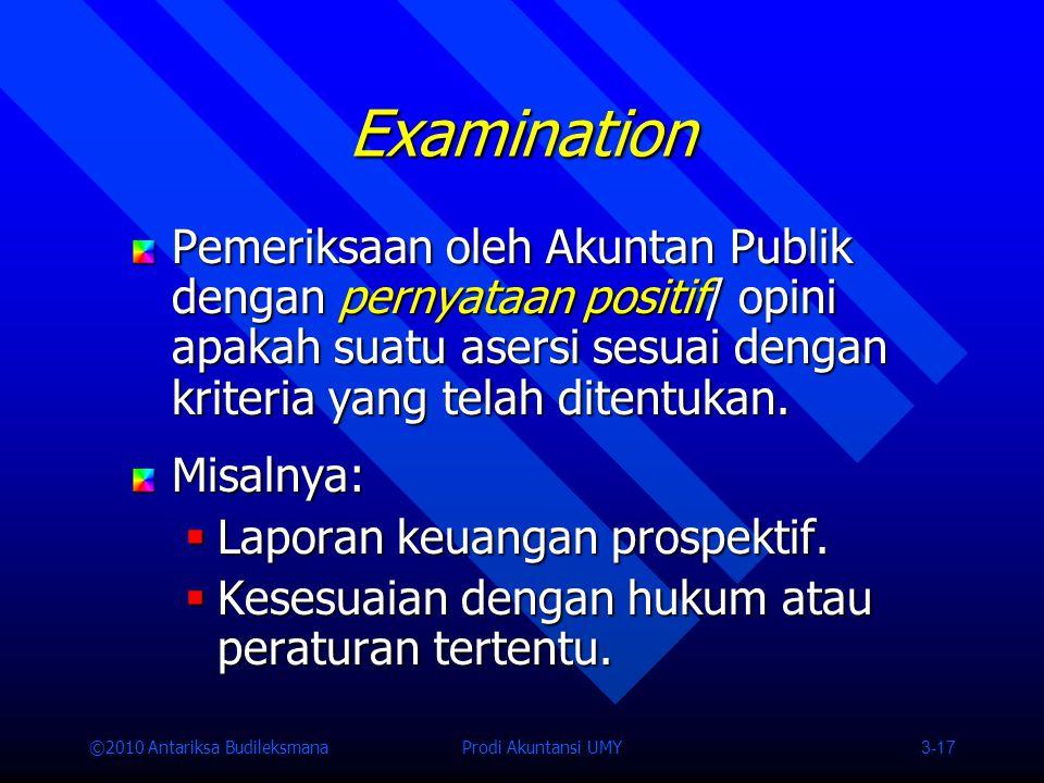 ©2010 Antariksa Budileksmana Prodi Akuntansi UMY 3-17 Pemeriksaan oleh Akuntan Publik dengan pernyataan positif/ opini apakah suatu asersi sesuai dengan kriteria yang telah ditentukan.