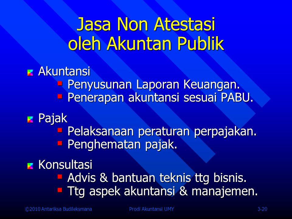 ©2010 Antariksa Budileksmana Prodi Akuntansi UMY 3-20 Jasa Non Atestasi oleh Akuntan Publik Akuntansi  Penyusunan Laporan Keuangan.