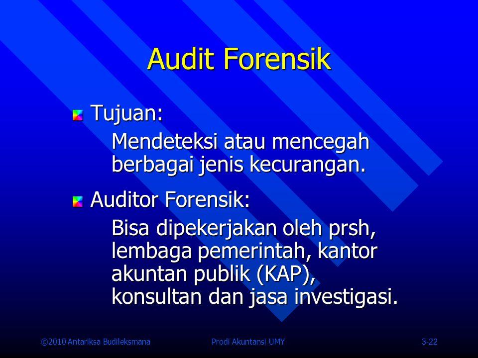 ©2010 Antariksa Budileksmana Prodi Akuntansi UMY 3-22 Audit Forensik Tujuan: Mendeteksi atau mencegah berbagai jenis kecurangan.