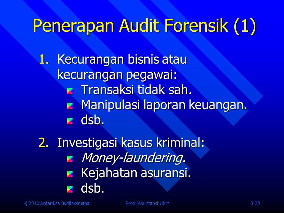 ©2010 Antariksa Budileksmana Prodi Akuntansi UMY 3-23 Penerapan Audit Forensik (1) 1.Kecurangan bisnis atau kecurangan pegawai: Transaksi tidak sah.