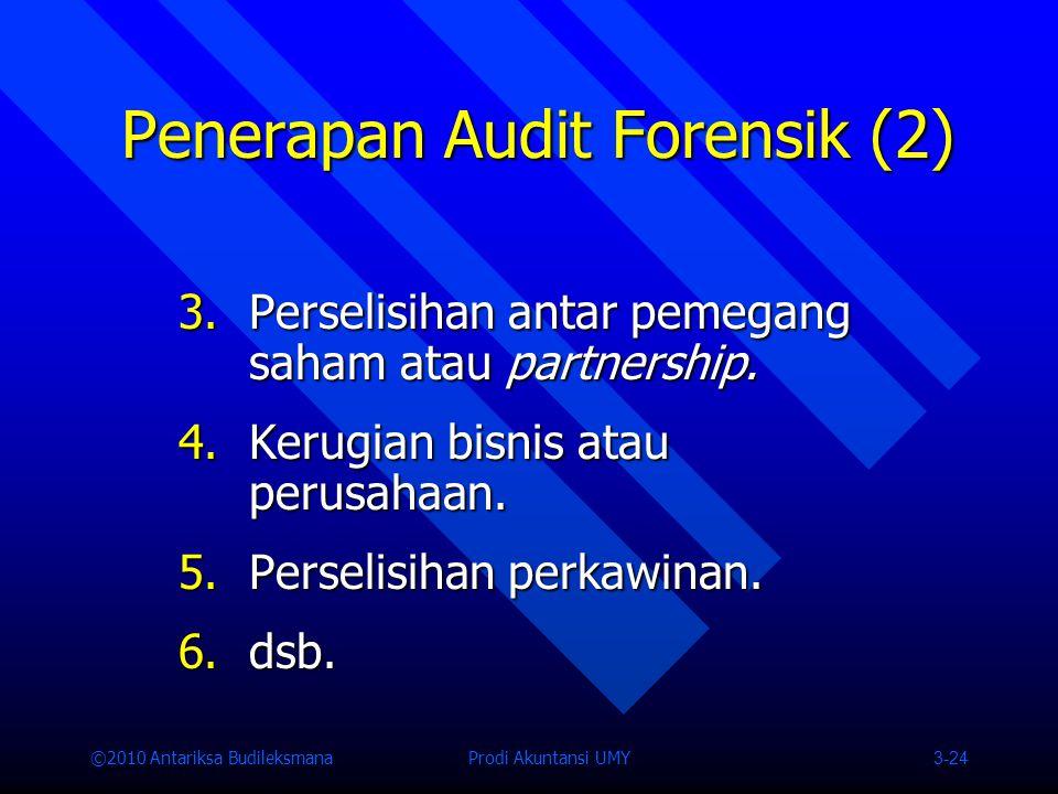 ©2010 Antariksa Budileksmana Prodi Akuntansi UMY 3-24 Penerapan Audit Forensik (2) 3.Perselisihan antar pemegang saham atau partnership.