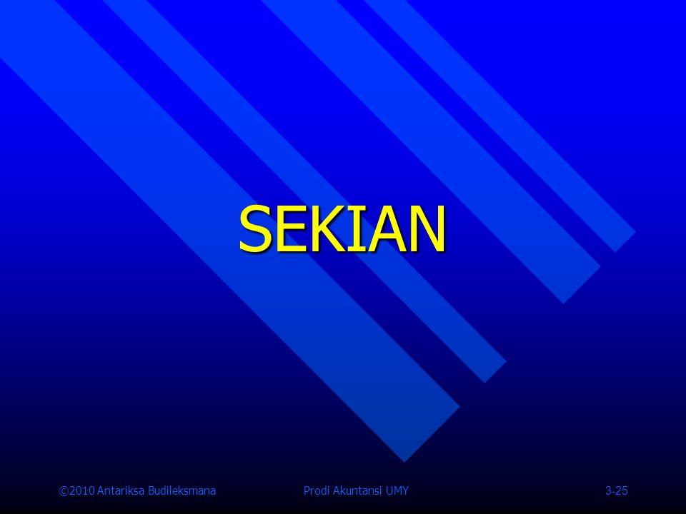 ©2010 Antariksa Budileksmana Prodi Akuntansi UMY 3-25 SEKIAN