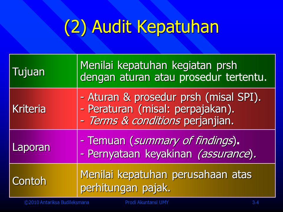 ©2010 Antariksa Budileksmana Prodi Akuntansi UMY 3-4 (2) Audit Kepatuhan Tujuan Menilai kepatuhan kegiatan prsh dengan aturan atau Menilai kepatuhan kegiatan prsh dengan aturan atau prosedur tertentu.