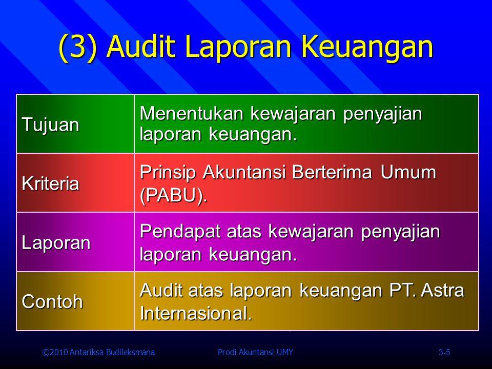 ©2010 Antariksa Budileksmana Prodi Akuntansi UMY 3-5 (3) Audit Laporan Keuangan Tujuan Menentukan kewajaran penyajian laporan keuangan.