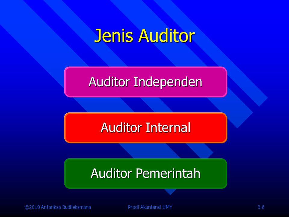 ©2010 Antariksa Budileksmana Prodi Akuntansi UMY 3-6 Jenis Auditor Auditor Independen Auditor Internal Auditor Pemerintah
