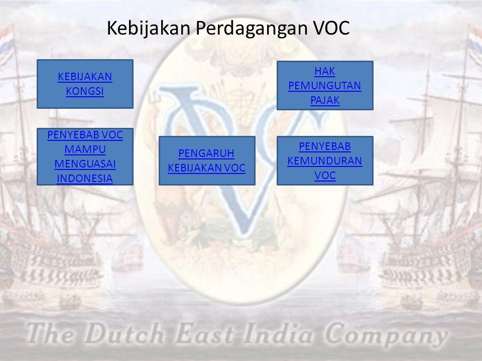 Kebijakan Perdagangan VOC KEBIJAKAN KONGSI HAK PEMUNGUTAN PAJAK PENYEBAB VOC MAMPU MENGUASAI INDONESIA PENGARUH KEBIJAKAN VOC PENYEBAB KEMUNDURAN VOC