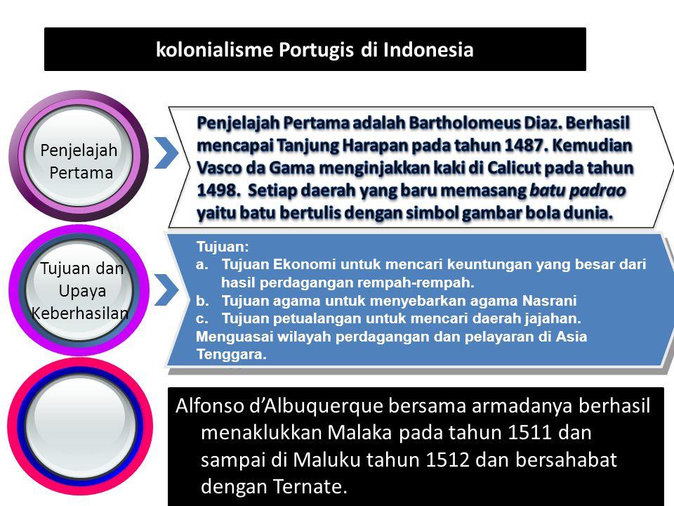 kolonialisme Portugis di Indonesia Penjelajah Pertama Tujuan dan Upaya Keberhasilan Tujuan: a.Tujuan Ekonomi untuk mencari keuntungan yang besar dari hasil perdagangan rempah-rempah.