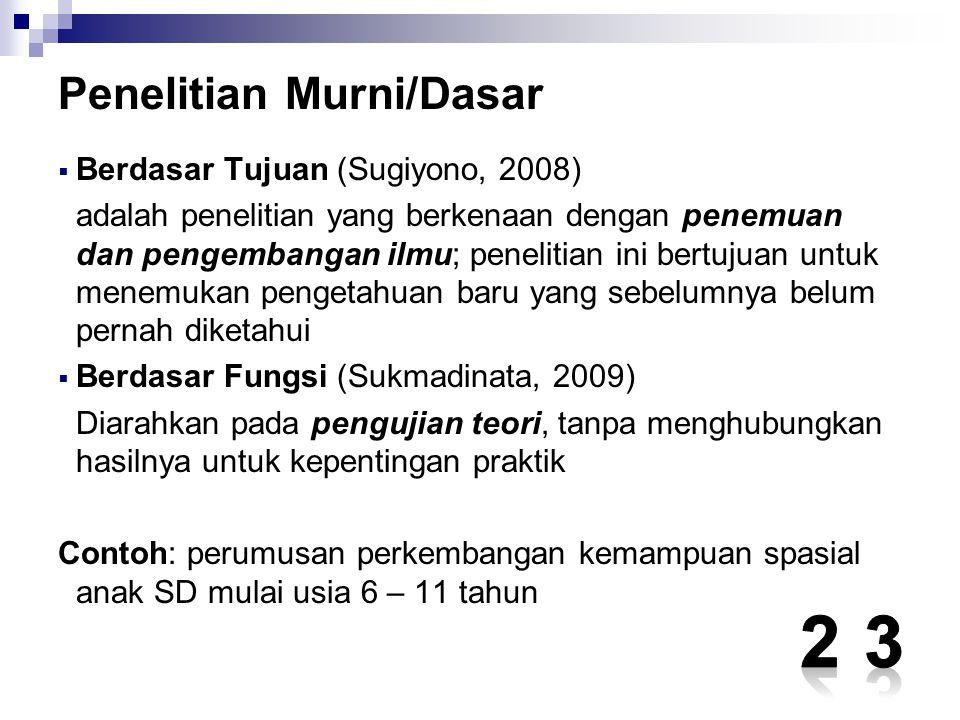 Penelitian Murni/Dasar  Berdasar Tujuan (Sugiyono, 2008) adalah penelitian yang berkenaan dengan penemuan dan pengembangan ilmu; penelitian ini bertu