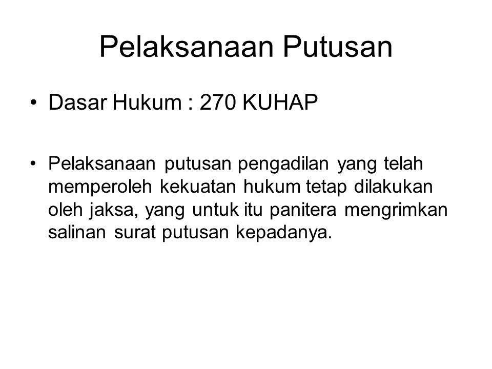 Pelaksanaan Putusan Dasar Hukum : 270 KUHAP Pelaksanaan putusan pengadilan yang telah memperoleh kekuatan hukum tetap dilakukan oleh jaksa, yang untuk