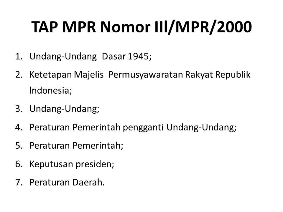 TAP MPR Nomor IIl/MPR/2000 1.Undang-Undang Dasar 1945; 2.Ketetapan Majelis Permusyawaratan Rakyat Republik lndonesia; 3.Undang-Undang; 4.Peraturan Pem