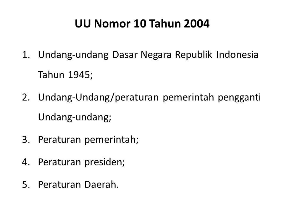 Undang-Undang Nomor 12 Tahun 2011 1.Undang-undang Dasar Negara Republik Indonesia Tahun 1945; 2.Ketetapan Majelis Permusyawaratan Rakyat Republik lndonesia; 3.Undang-Undang/Peraturan Pemerintah Pengganti Undang-undang; 4.Peraturan Pemerintah; 5.Peraturan Presiden; 6.Peraturan Daerah Provinsi; 7.Peraturan Daerah Kabupaten/Kota.