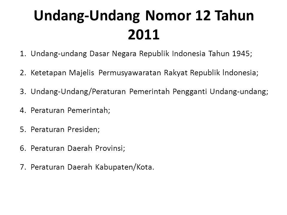 Undang-Undang Nomor 12 Tahun 2011 1.Undang-undang Dasar Negara Republik Indonesia Tahun 1945; 2.Ketetapan Majelis Permusyawaratan Rakyat Republik lndo
