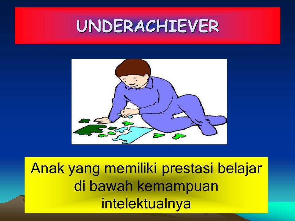 UNDERACHIEVER Anak yang memiliki prestasi belajar di bawah kemampuan intelektualnya