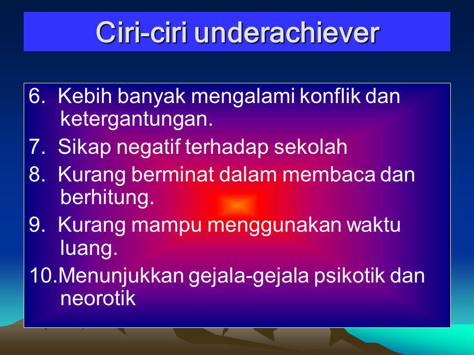 Ciri-ciri underachiever 6.Kebih banyak mengalami konflik dan ketergantungan.