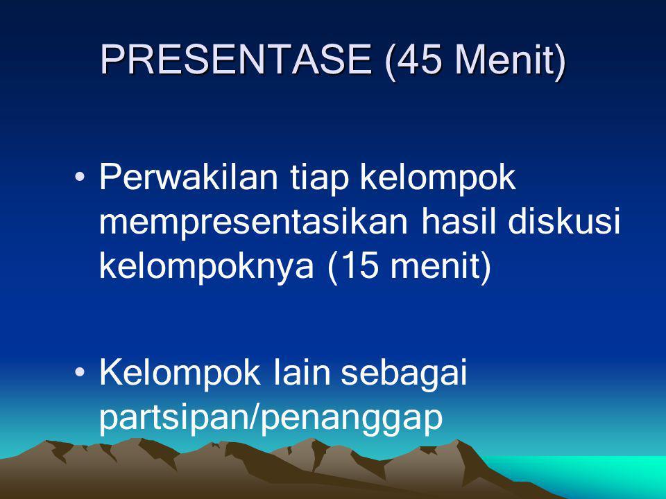 PRESENTASE (45 Menit) Perwakilan tiap kelompok mempresentasikan hasil diskusi kelompoknya (15 menit) Kelompok lain sebagai partsipan/penanggap