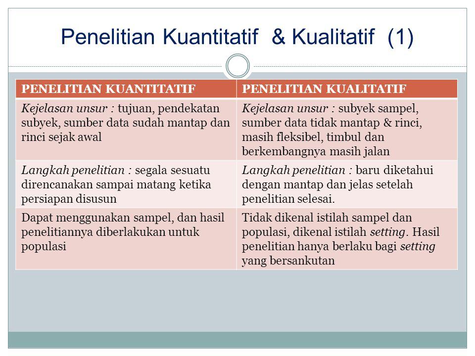 Penelitian Kuantitatif & Kualitatif (1) PENELITIAN KUANTITATIFPENELITIAN KUALITATIF Kejelasan unsur : tujuan, pendekatan subyek, sumber data sudah man