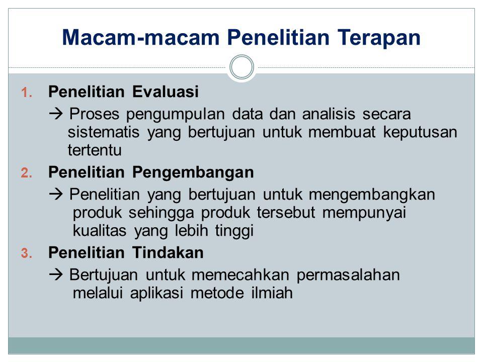 Macam-macam Penelitian Terapan 1. Penelitian Evaluasi  Proses pengumpulan data dan analisis secara sistematis yang bertujuan untuk membuat keputusan