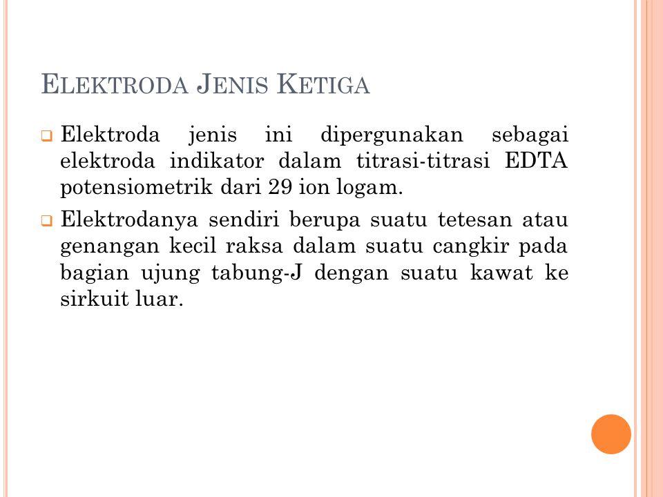 E LEKTRODA J ENIS K ETIGA  Elektroda jenis ini dipergunakan sebagai elektroda indikator dalam titrasi-titrasi EDTA potensiometrik dari 29 ion logam.