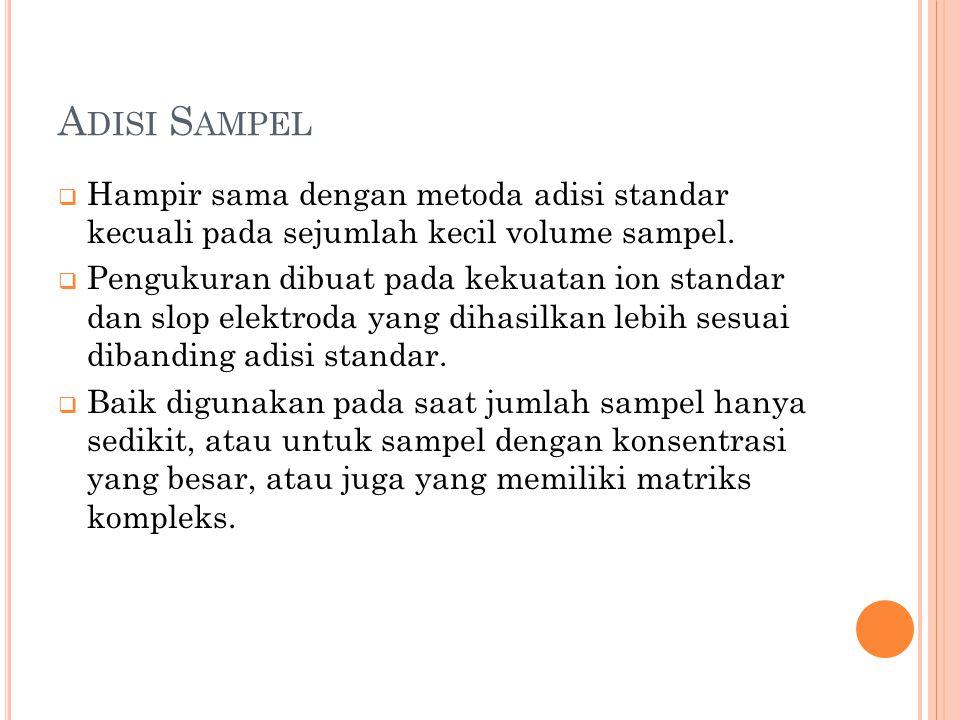 A DISI S AMPEL  Hampir sama dengan metoda adisi standar kecuali pada sejumlah kecil volume sampel.  Pengukuran dibuat pada kekuatan ion standar dan