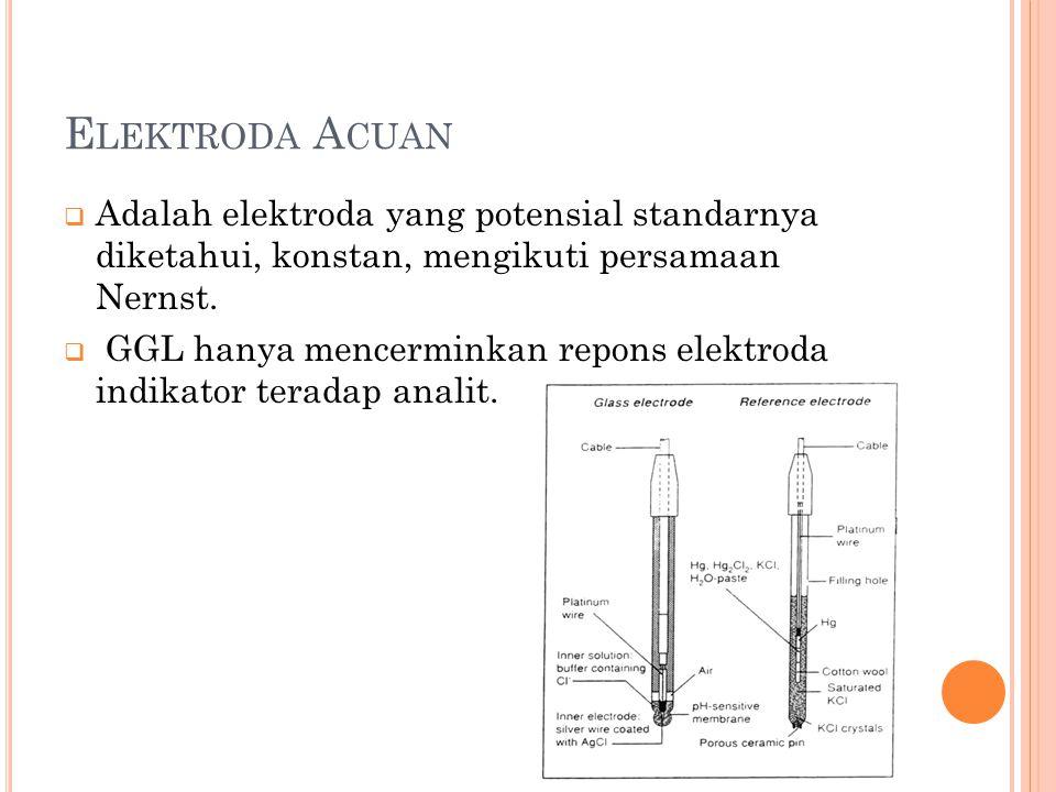 E LEKTRODA A CUAN  Adalah elektroda yang potensial standarnya diketahui, konstan, mengikuti persamaan Nernst.  GGL hanya mencerminkan repons elektro