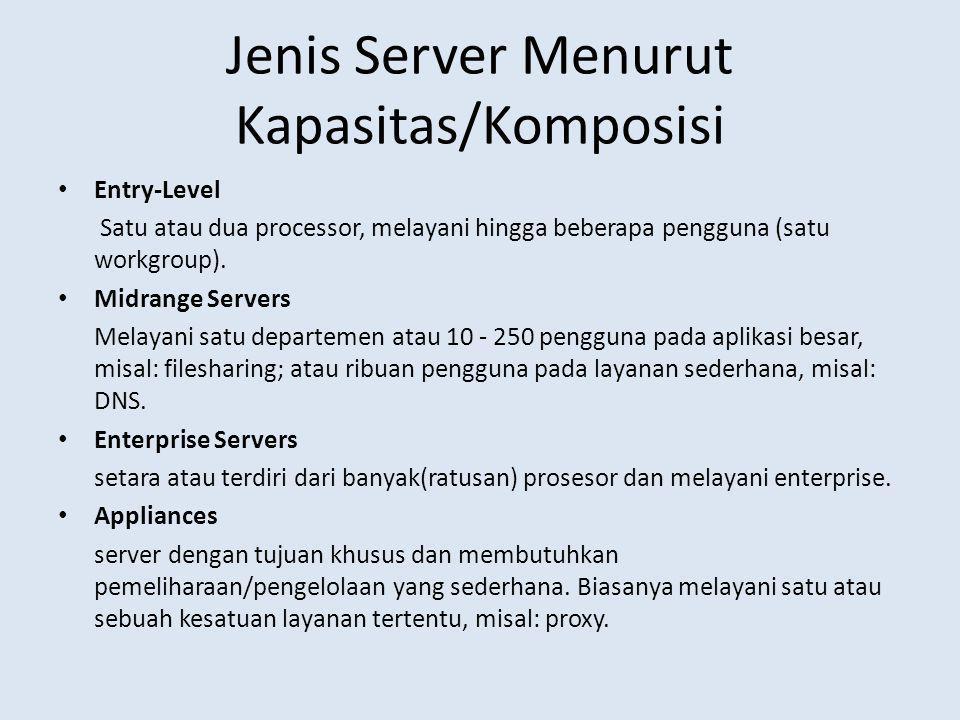 Jenis Server Menurut Kapasitas/Komposisi Entry-Level Satu atau dua processor, melayani hingga beberapa pengguna (satu workgroup). Midrange Servers Mel