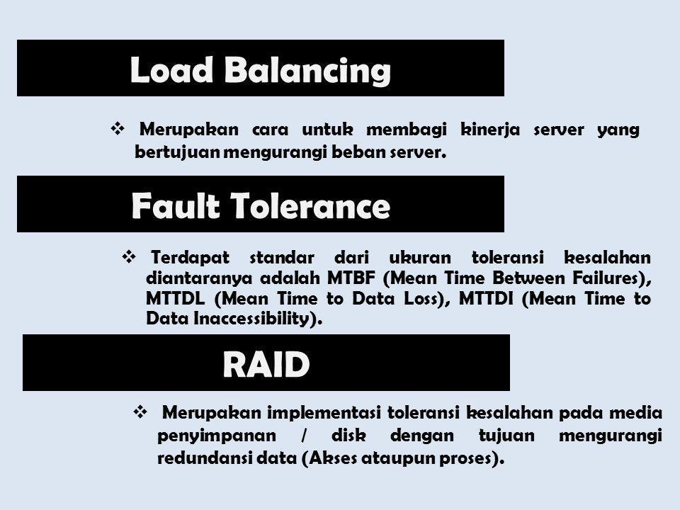  Merupakan cara untuk membagi kinerja server yang bertujuan mengurangi beban server. Load Balancing Fault Tolerance  Terdapat standar dari ukuran to