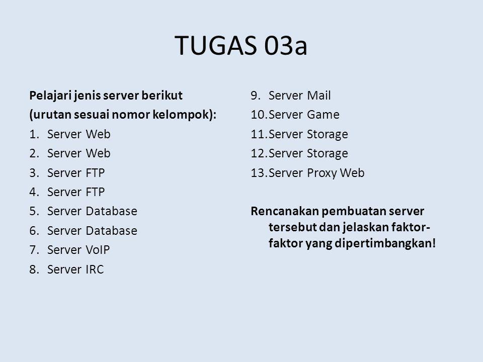 TUGAS 03a Pelajari jenis server berikut (urutan sesuai nomor kelompok): 1.Server Web 2.Server Web 3.Server FTP 4.Server FTP 5.Server Database 6.Server Database 7.Server VoIP 8.Server IRC 9.Server Mail 10.Server Game 11.Server Storage 12.Server Storage 13.Server Proxy Web Rencanakan pembuatan server tersebut dan jelaskan faktor- faktor yang dipertimbangkan!