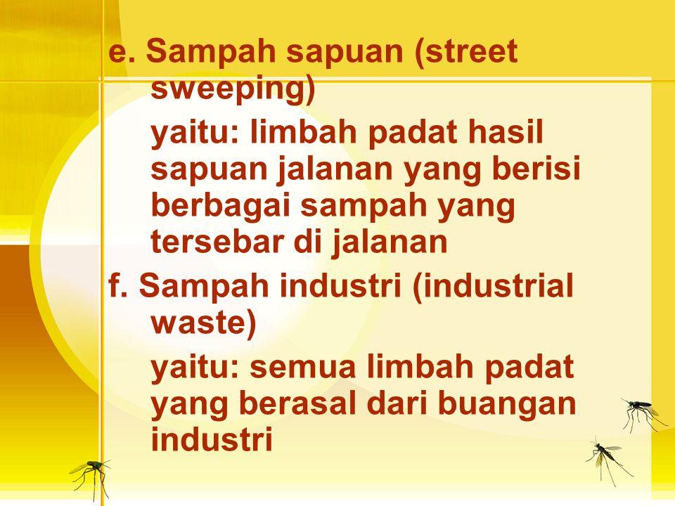 c. Sampah Abu (ashes) yaitu: limbah padat yang berupa abu, biasanya hasil pembakaran. d. Sampah bangkai binatang (dead animal) yaitu: semua limbah yan