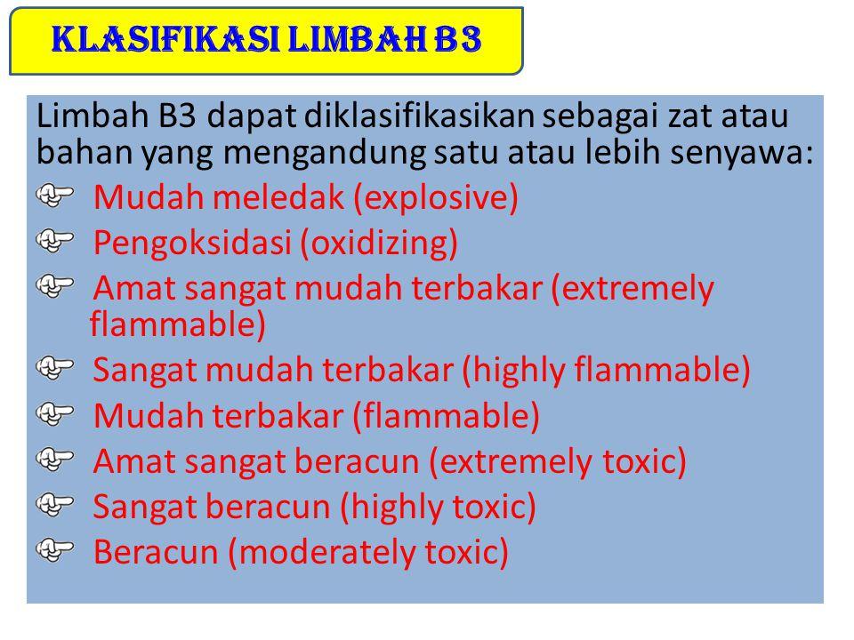 4. Limbah Bahan Berbahaya dan Beracun (B3) 4. Limbah Bahan Berbahaya dan Beracun (B3) Menurut PP RI No. 18/1999 tentang Pengelolaan Limbah Bahan Berba