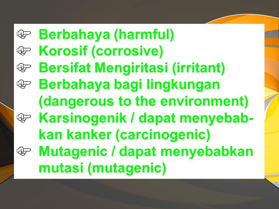 Klasifikasi Limbah B3 Limbah B3 dapat diklasifikasikan sebagai zat atau bahan yang mengandung satu atau lebih senyawa: Mudah meledak (explosive) Pengo