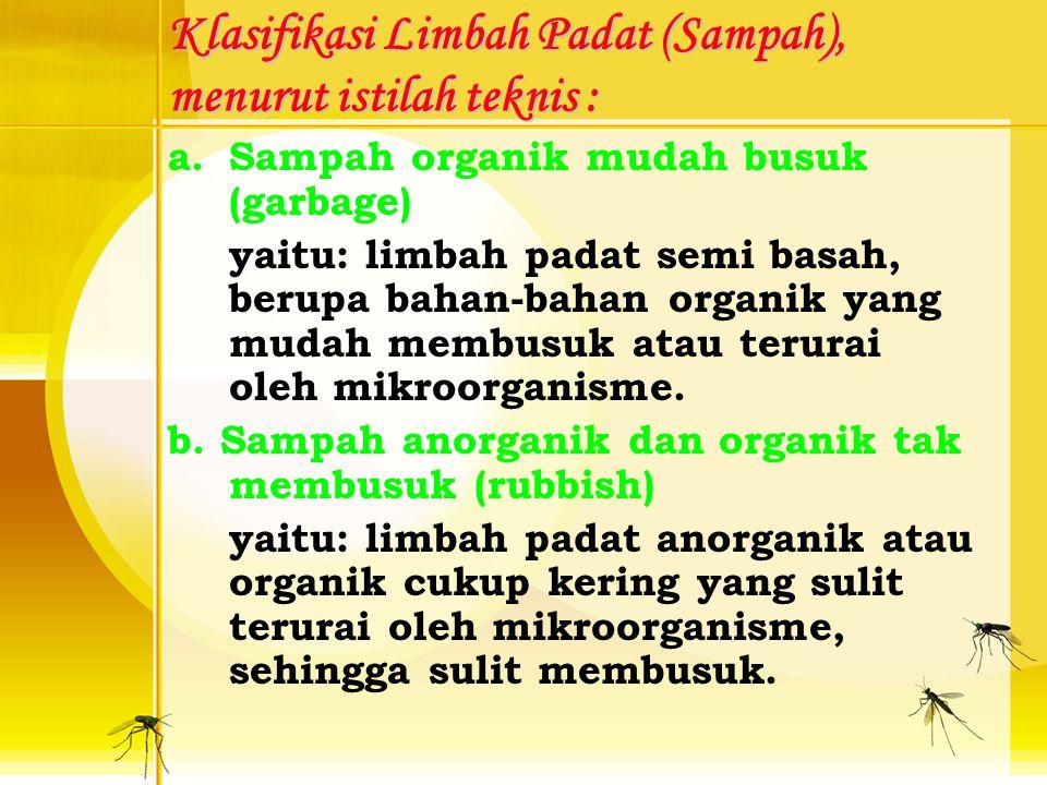 LIMBAH PADAT Biasannya limbah padat disebut sebagai: SAMPAH Bentuk, jenis dan komposisi limbah padat sangat dipengaruhi oleh: Taraf hidup masyarakat d