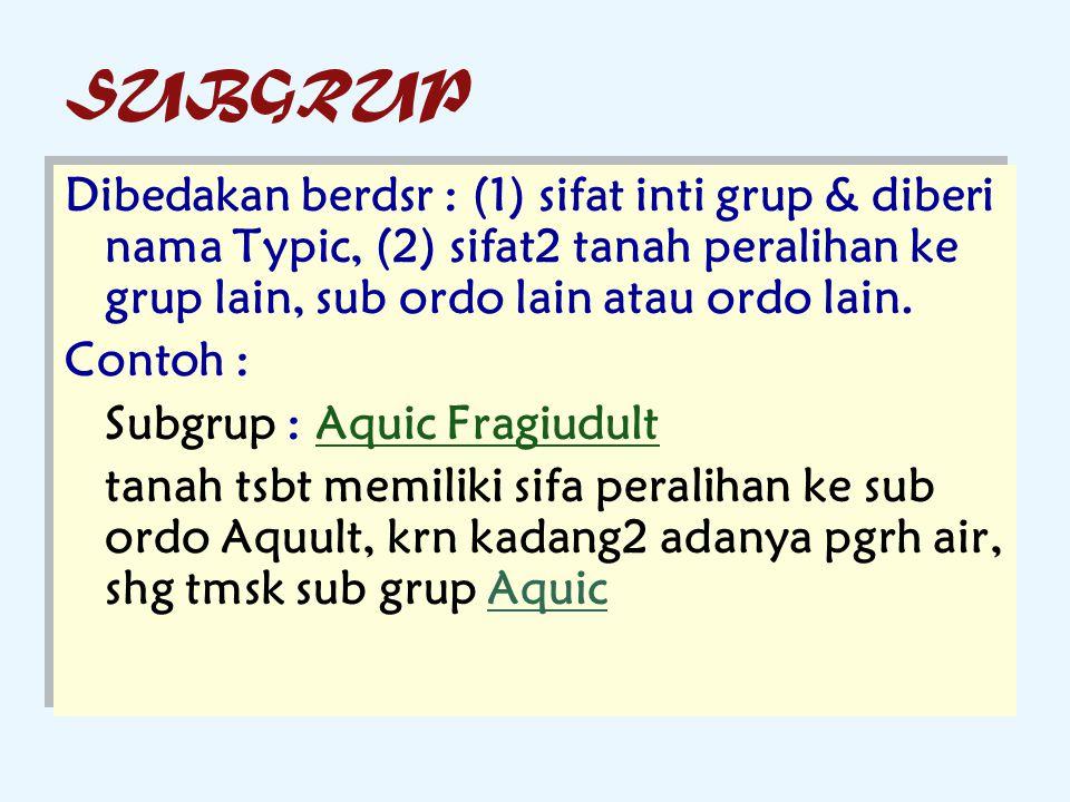 SUBGRUP Dibedakan berdsr : (1) sifat inti grup & diberi nama Typic, (2) sifat2 tanah peralihan ke grup lain, sub ordo lain atau ordo lain. Contoh : Su