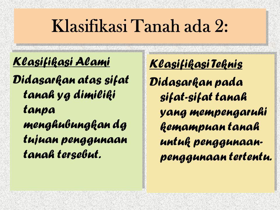 Klasifikasi Tanah ada 2: Klasifikasi Alami Didasarkan atas sifat tanah yg dimiliki tanpa menghubungkan dg tujuan penggunaan tanah tersebut. Klasifikas