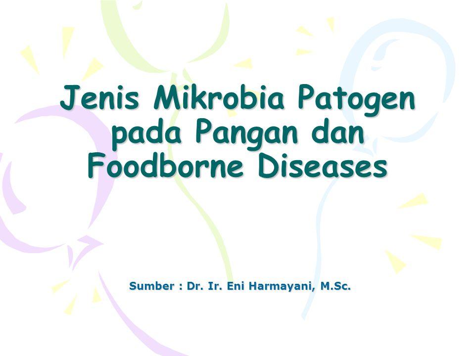 Jenis Mikrobia Patogen pada Pangan dan Foodborne Diseases Sumber : Dr. Ir. Eni Harmayani, M.Sc.